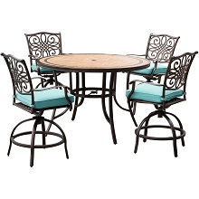 Hanover Monaco 5-Piece High-Dining Set in Blue with 4 Swivel Chairs and a 56 In. Tile-top Table - MONDN5PCBR-C-BLU