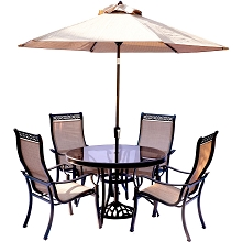 Monaco 5PC Glass Dining Set with 9 Ft. Table Umbrella and Base - MONDN5PCG-SU