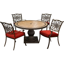 Hanover Monaco 5-Piece Dining Set in Red with 4 Cushioned Dining Chairs and a 51 In. Tile-Top Table - MONDN5PC-RED