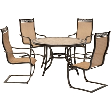 Hanover Monaco 5-Piece Outdoor Dining Set with C-Spring Chairs and Tile-top Dining Table, MONDN5PCSP