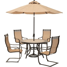 Hanover Monaco 5-Piece Outdoor Dining Set with C-Spring Chairs, Tile-top Dining Table, and a 9 Ft. Table Umbrella, MONDN5PCSP-SU