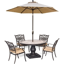 Hanover Monaco 5-Piece Dining Set in Tan with 4 Cushioned Dining Chairs, a 51-Inch Tile-Top Table, and a 9-Foot Umbrella - MONDN5PC-SU