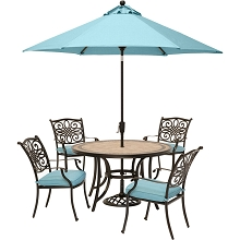 Hanover Monaco 5-Piece Dining Set in Blue with 4 Cushioned Dining Chairs, a 51-Inch Tile-Top Table, and a 9 Ft. Umbrella - MONDN5PC-SU-B