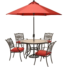 Hanover Monaco 5-Piece Dining Set in Red with 4 Cushioned Dining Chairs, a 51-Inch Tile-Top Table, and a 9-Foot Umbrella - MONDN5PC-SU-R