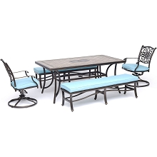 Hanover Monaco 5-Piece Dining Set in Blue with 2 Swivel Rockers, 2 Cushioned Benches, and a 40