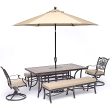 Hanover Monaco 5-Piece Dining Set in Tan with 2 Swivel Rockers, 2 Benches, 40