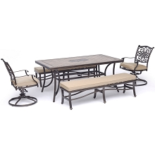 Hanover Monaco 5-Piece Dining Set in Tan with 2 Swivel Rockers, 2 Cushioned Benches, and a 40