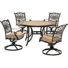 Hanover Monaco 5-Piece Patio Dining Set in Tan with Four Swivel Rockers and a 51 In. Tile-Top Pedestal Table, MONDN5PCSW-4