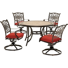 Hanover Monaco 5-Piece Dining Set in Red with Four Swivel Rockers and a 51 In. Tile-Top Table - MONDN5PCSW-4-RED