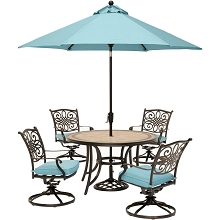 Hanover Monaco 5-Piece Dining Set in Blue with 4 Cushioned Dining Chairs, a 51 In. Tile-Top Table, and a 9 Ft. Table Umbrella - MONDN5PCSW4-SU-B