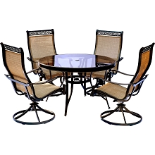 Monaco 5PC Dining Set with Swivel Sling Chairs and Glass-top Dining Table - MONDN5PCSWG