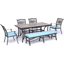 Hanover Monaco 6-Piece Dining Set in Blue with Four Dining Chairs, a Cushioned Bench, and a 40