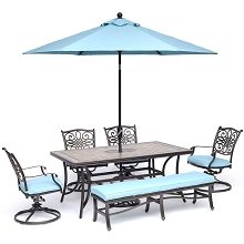 Hanover Monaco 6-Piece Dining Set in Blue with 4 Swivel Rockers, 1 Bench, a 40