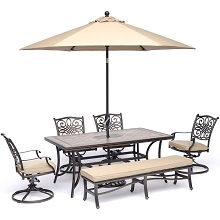 Hanover Monaco 6-Piece Dining Set in Tan with 4 Swivel Rockers, 1 Bench, a 40