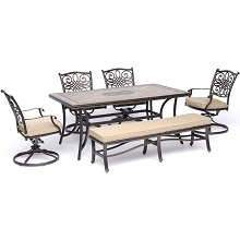 Hanover Monaco 6-Piece Dining Set in Tan with Four Swivel Rockers, a Cushioned Bench, and a 40