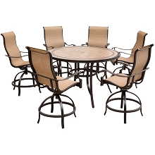 Hanover Monaco 7-Piece High-Dining Set with 6 Contoured Swivel Chairs and a 56 In. Tile-Top Table - MONDN7PCBR