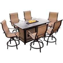 Hanover Monaco 7-Piece High-Dining Set with 6 Swivel Rockers and a 30,000 BTU Fire Pit Table - MONDN7PCFP-BR