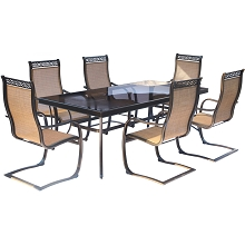 Monaco 7PC Dining Set with Spring Sling Chairs and Glass-top Dining Table - MONDN7PCSPG