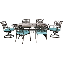 Hanover Monaco 7-Piece Dining Set in Blue with 4 Dining Chairs, 2 Swivel Rockers, and a 40