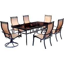 Monaco 7PC Dining Set with Four Stationary Dining Chairs and Two Swivel Rockers - MONDN7PCSW2G