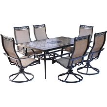 Monaco 7PC Dining Set with Six Swivel Rockers and a 68 x 40 in. Dining Table - MONDN7PCSW-6