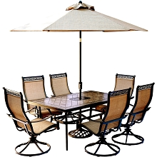 Monaco 7PC Dining Set with 6 Swivel Rockers, a 68 x 40 in. Table, 9 Ft. Umbrella, and Base- MONDN7PCSW6-SU