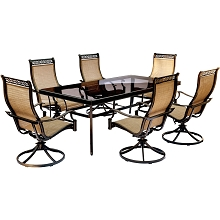 Monaco 7PC Dining Set with 6 Swivel Rockers and XL Glass-top Dining Table - MONDN7PCSWG