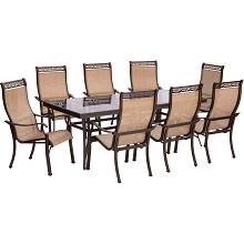 Monaco 9PC Dining Set with 8 Dining Chairs and an XL Glass-top Table - MONDN9PCG