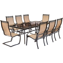Monaco 9PC Dining Set with 6 Chairs, 2 C-Spring Chairs, and an XL Glass-Top Table - MONDN9PCSP2G