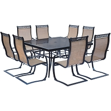 Monaco 9PC Dining Set with 8 C-Spring Chairs and a 60 In. Square Glass-top Table - MONDN9PCSPSQG