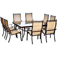 Monaco 9PC Dining Set with 60 In. Square Glass-top Table and 8 Dining Chairs - MONDN9PCSQG