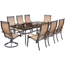 Monaco 9PC Dining Set with 6 Chairs, 2 Swivel Rockers, and an XL Glass-Top Dining Table - MONDN9PCSW2G