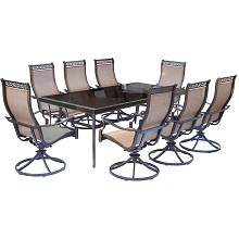 Monaco 9PC Dining Set with 8 Swivel Rockers and XL Glass-top Table - MONDN9PCSWG