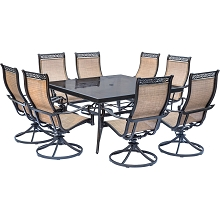 Monaco 9PC Dining Set with 8 Swivel Rockers and a 60 In. Glass-top Square Table - MONDN9PCSWSQG