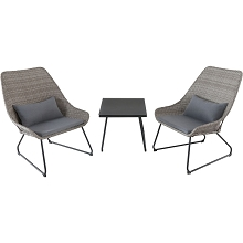 Mod Furniture Montauk 3-Piece Wicker Scoop Chat Set with Gray Cushions, MONTK3PC-GRY