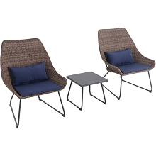 Mod Furniture Montauk 3-Piece Wicker Scoop Chat Set with Navy Cushions, MONTK3PC-NVY