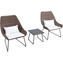 Mod Furniture Montauk 3-Piece Wicker Scoop Chat Set with White Cushions, MONTK3PC-WHT