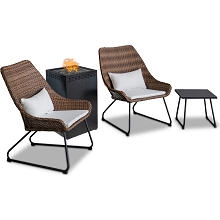 Mod Furniture Montauk 4-Piece Modern Outdoor Fire Pit Set with 2 Two-Toned Wicker Chairs with Cushions, Accent Table, and 40,000 BTU Column Fire Pit