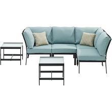 Hanover Murano 6-Piece Modular Sectional Set, Ocean Blue - MUR-6PC-BLU