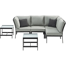 Hanover Murano 6-Piece Modular Sectional Set, Silver Linings - MUR-6PC-SLV