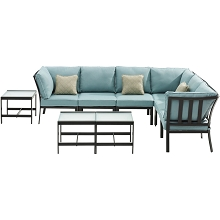 Hanover Murano 9-Piece Modular Sectional Set,  Ocean Blue - MUR-9PC-BLU