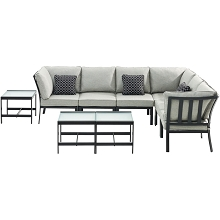 Hanover Murano 9-Piece Modular Sectional Set, Silver Linings - MUR-9PC-SLV