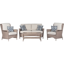 Hanover Nantucket 4-Piece Wicker Outdoor Chat Set with 2 High Back Side Chairs, Loveseat and Glass Top Coffee Table, NANT4PC-GRY