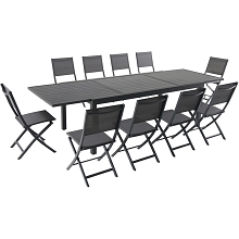 Hanover Naples 11-Piece Dining Set with 10 Folding Sling Chairs and a 40