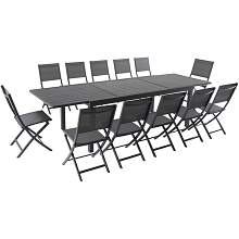 Hanover Naples 13-Piece Dining Set with 12 Folding Sling Chairs and a 40