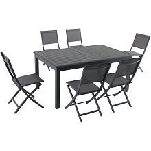 Hanover Naples 7-Piece Dining Set with 6 Folding Sling Chairs and a 40