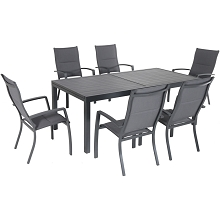 Hanover Naples 7-Piece Outdoor Dining Set with 6 Padded Sling Chairs in Gray and a 40