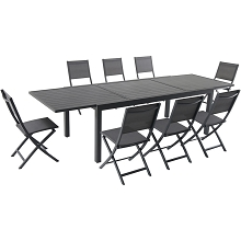Hanover Naples 9-Piece Dining Set with 8 Folding Sling Chairs and a 40