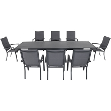 Hanover Naples 9-Piece Outdoor Dining Set with 8 Padded Sling Chairs in Gray and a 40