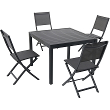 Hanover Naples 5-Piece Outdoor Dining Set with 4 Sling Folding Chairs and a 38